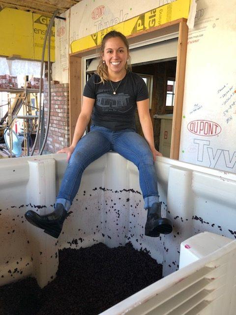 Hannah Ermisch, taking a break at Ermisch Family Cellars